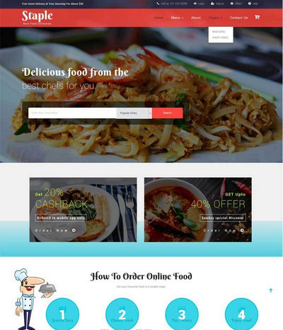 宽屏大气美食餐厅网站模板html整站