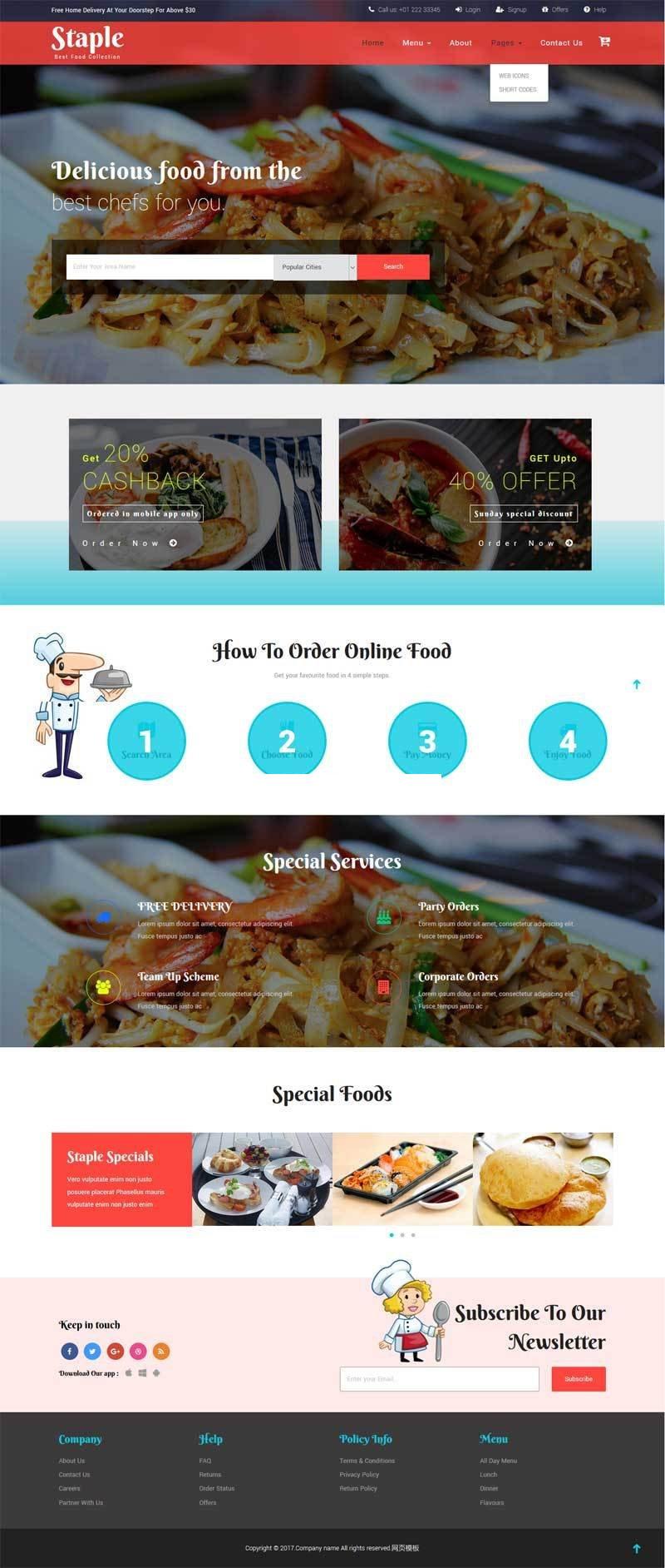 宽屏大气的美食餐厅网站模板html整站