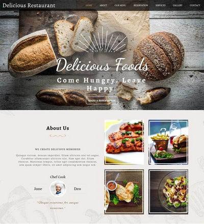 宽屏国外餐饮美食网站html5静态模板