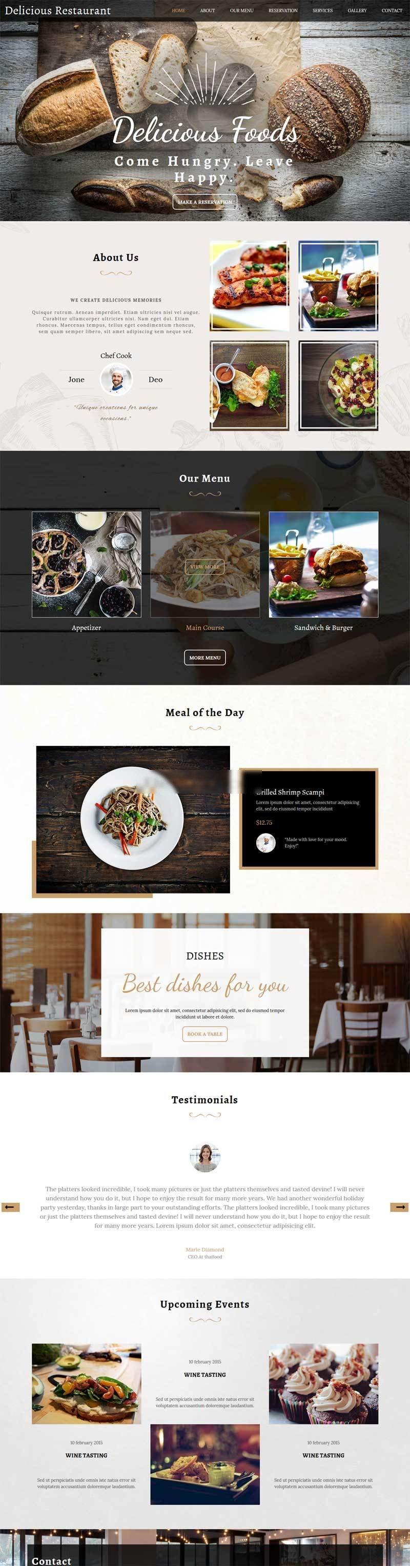 宽屏的国外餐饮美食网站html5模板