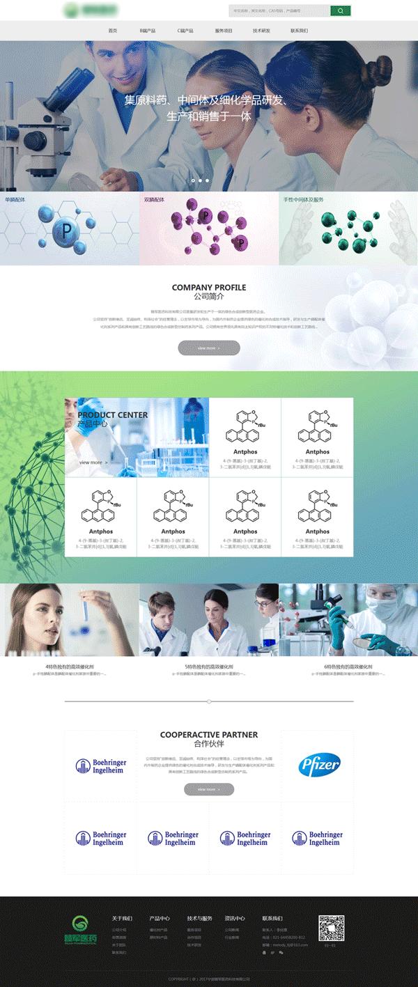 宽屏的生物医药化学公司网站模板