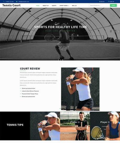 宽屏网球运动比赛训练网站模板html下载