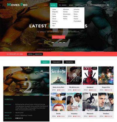 宽屏大气网上电影票预订html网站模板