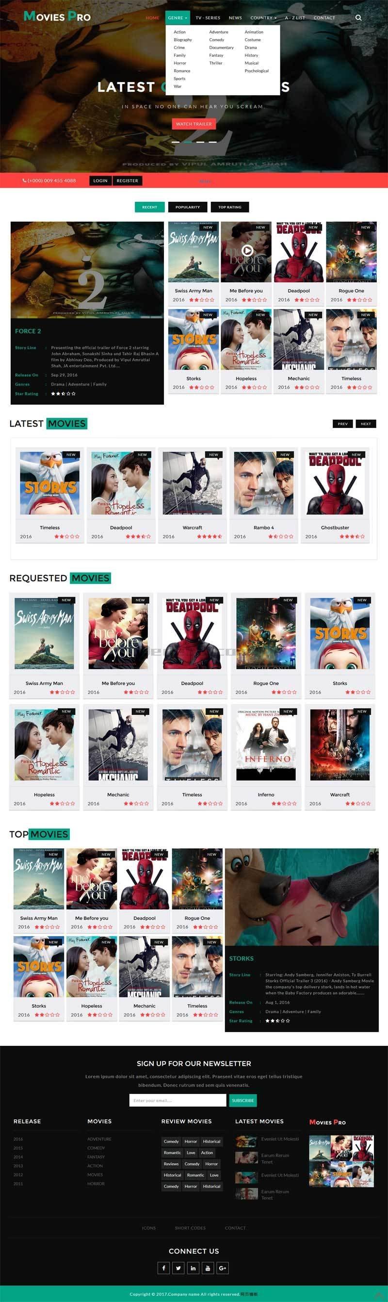 宽屏大气的网上电影票预订网站模板html源码