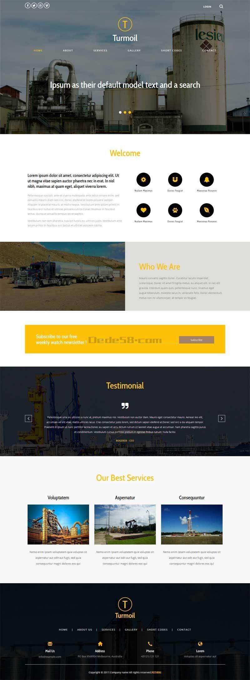 宽屏简洁的工业化工生产公司网站模板