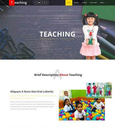 国外宽屏儿童教育网站静态html模板下载