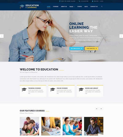 在线销售课程教育培训html静态网站模板