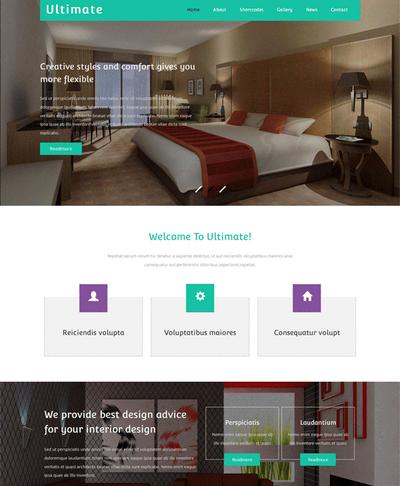 扁平风格响应式酒店预订html网站模板下载