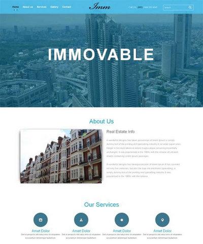 宽屏房地产建筑公司html整站网站模板