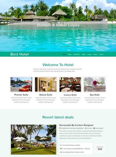 大气旅游度假酒店html整站网站模板