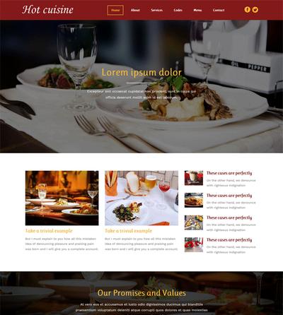 宽屏西餐厅美食html整站网站模板