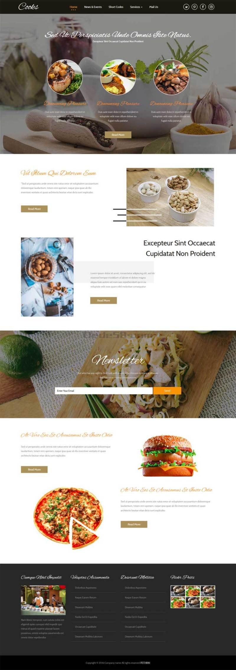 国外宽屏披萨餐饮店铺网站html5动画模板下载