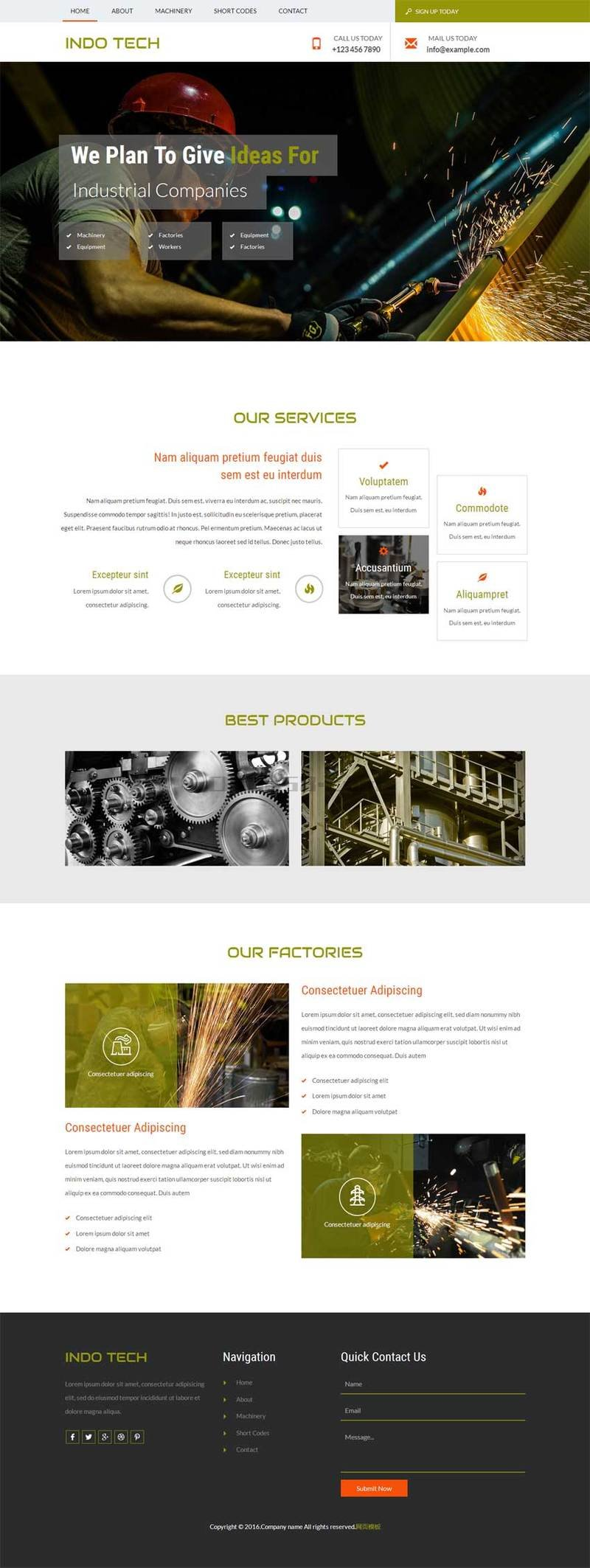 简洁宽屏的机械建设公司网站模板html整站