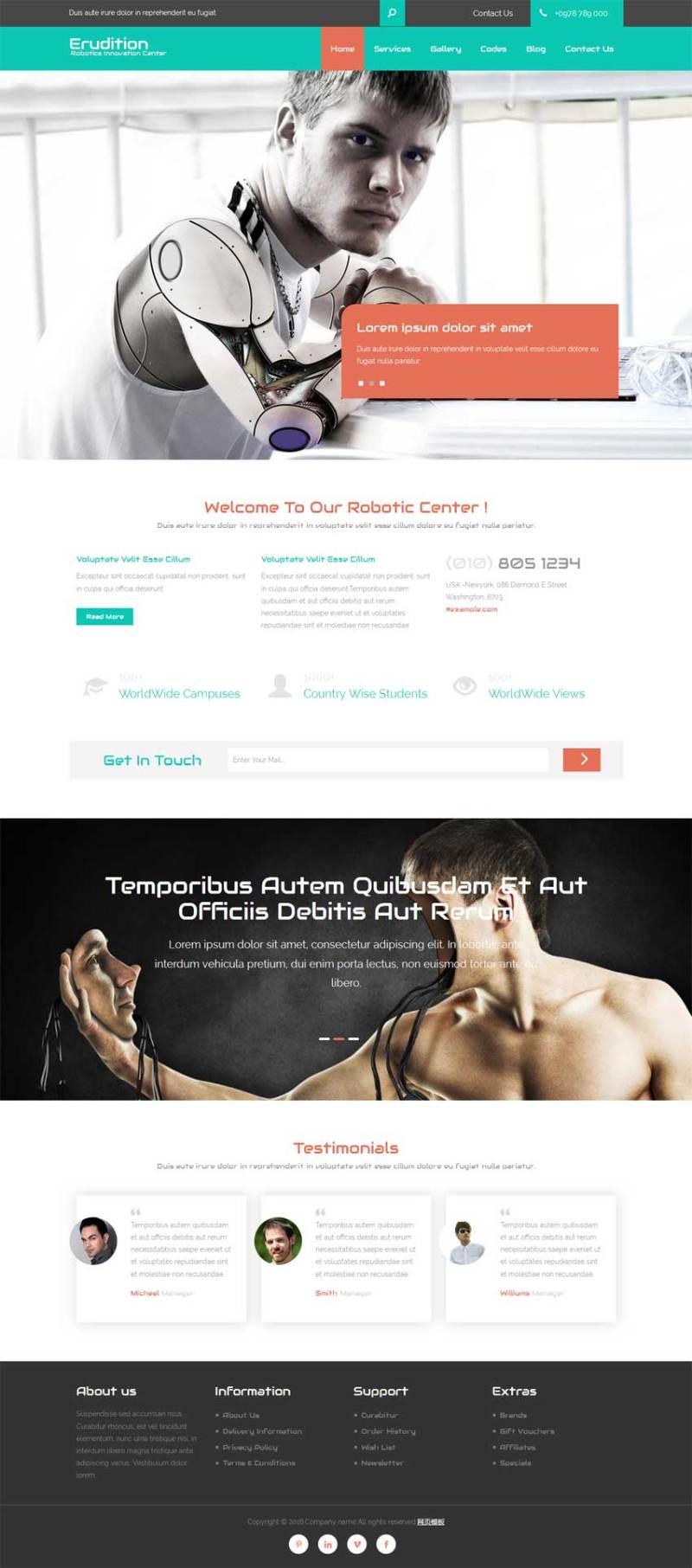 扁平化宽屏的机器人公司网站模板html整站