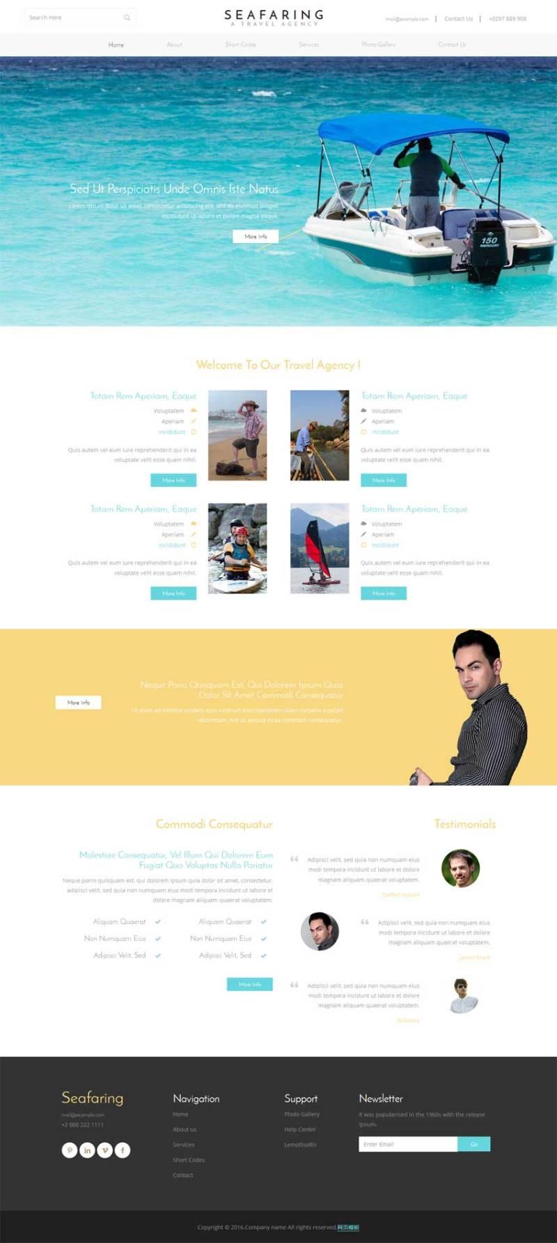 简洁自适应的航海旅行公司网站静态模板