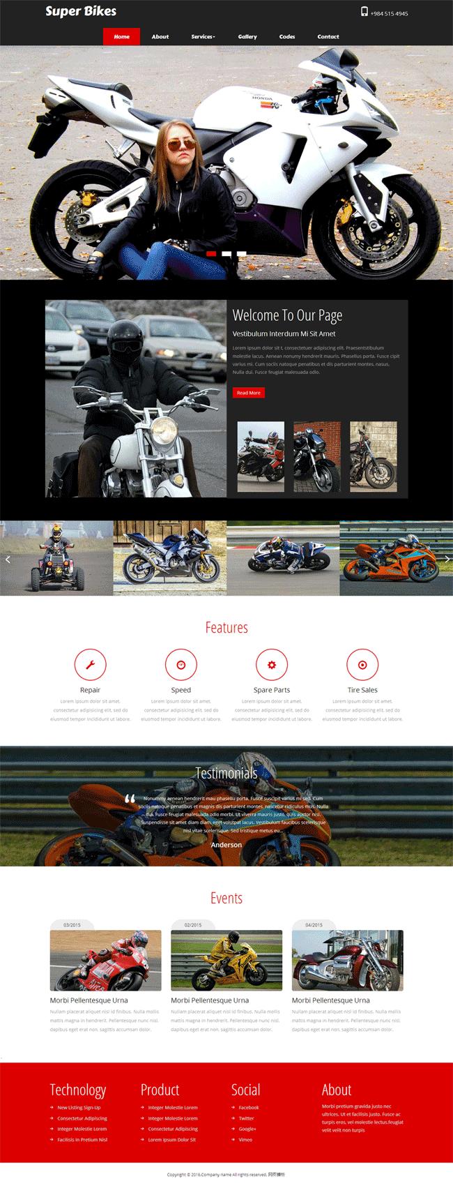 黑色的国外摩托车销售网站模板html下载