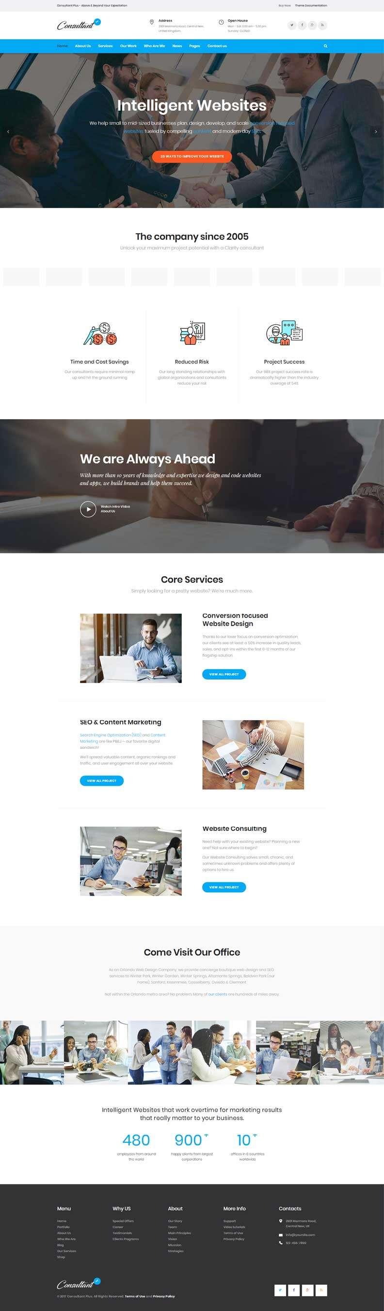 蓝色大气的金融商务服务公司网站模板
