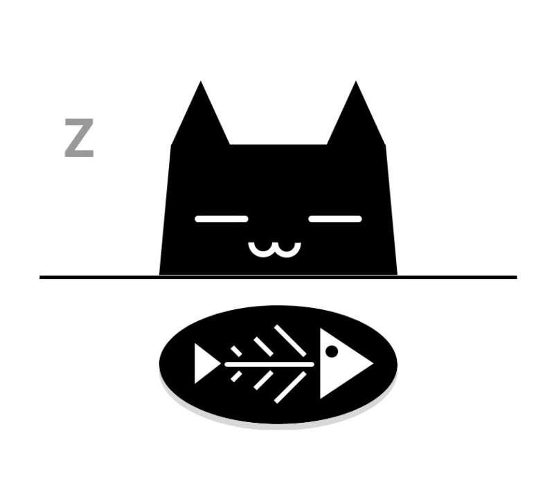 吃鱼的猫睡觉图形特效