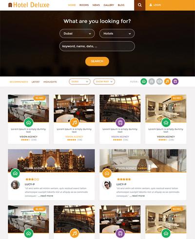 响应式高级酒店预订html5网站模板