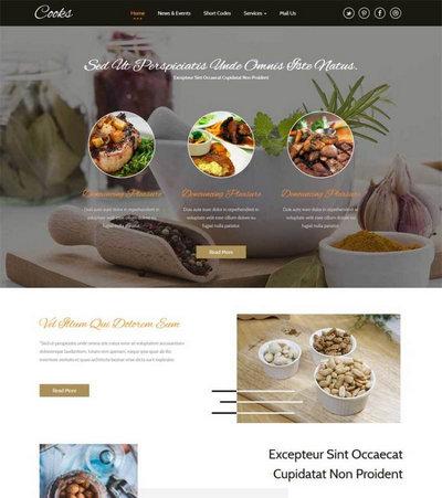 宽屏披萨餐饮店铺网站html5动画模板