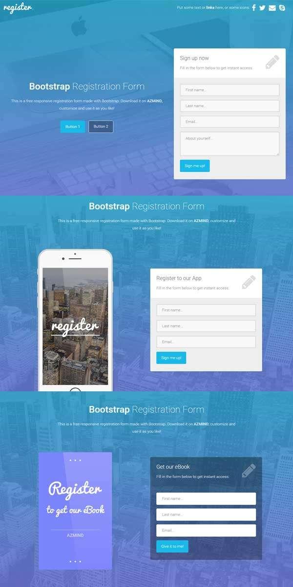简单Bootstrap网站注册页面模板下载