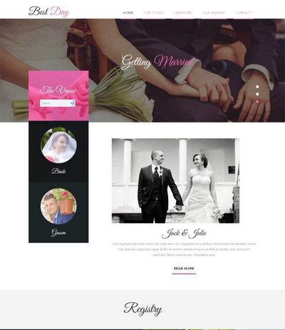 简洁宽屏国外婚纱摄影网站静态html模板