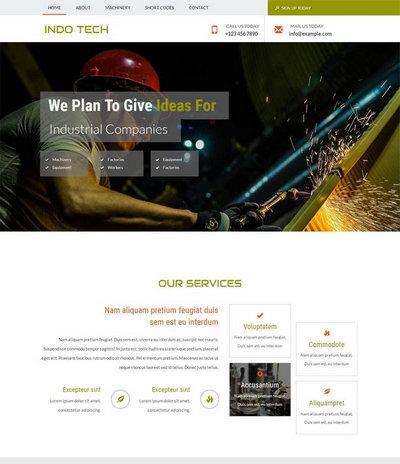 简洁宽屏机械建设公司html整站网站模板