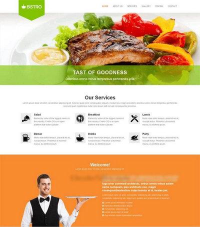 简洁宽屏牛排美食餐厅网站html静态模板