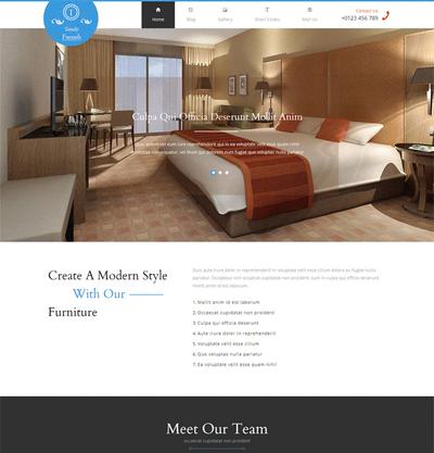 简洁宽屏室内家具装饰html整站网站模板