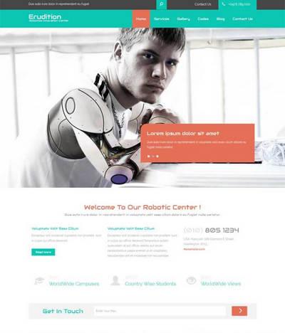 扁平化宽屏机器人公司html整站网