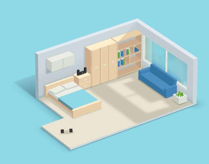卡通3D空间卧室图形特效