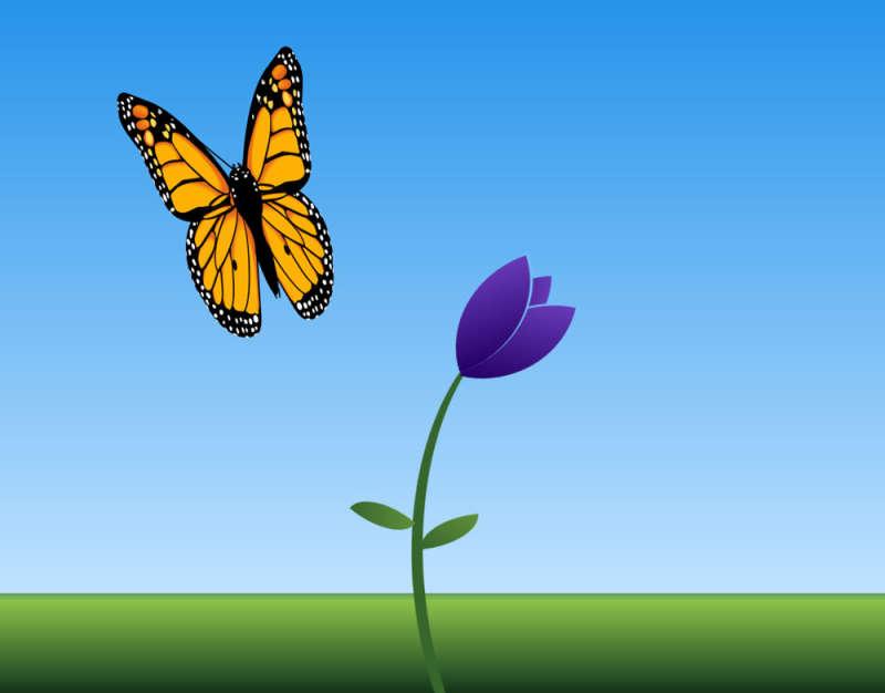 卡通的花朵上蝴蝶动画场景特效