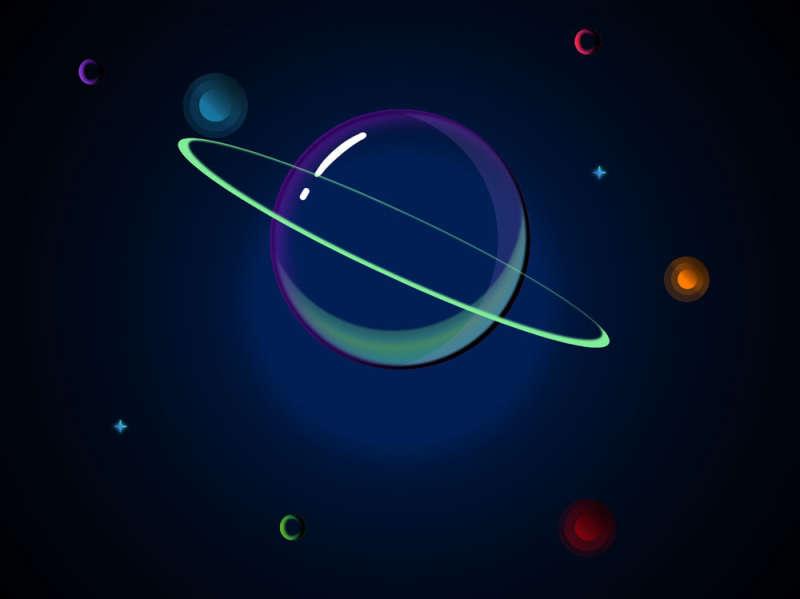 卡通的星球行星图形特效