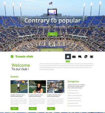 宽屏网球俱乐部网站静态html页面模板
