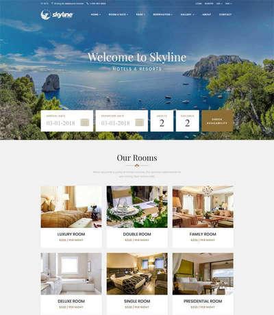 大气在线度假酒店预订html网站模板下载