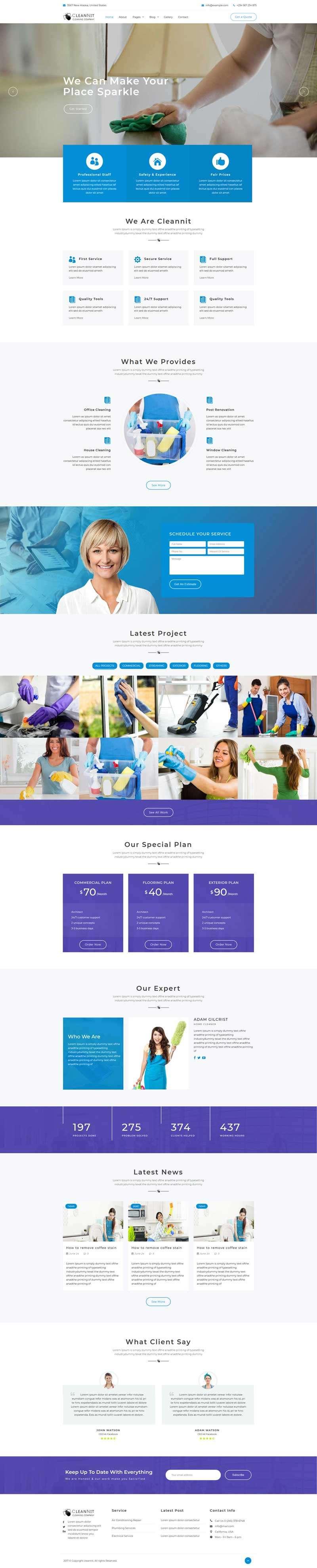 大气的家政清洁服务公司html5网站模板