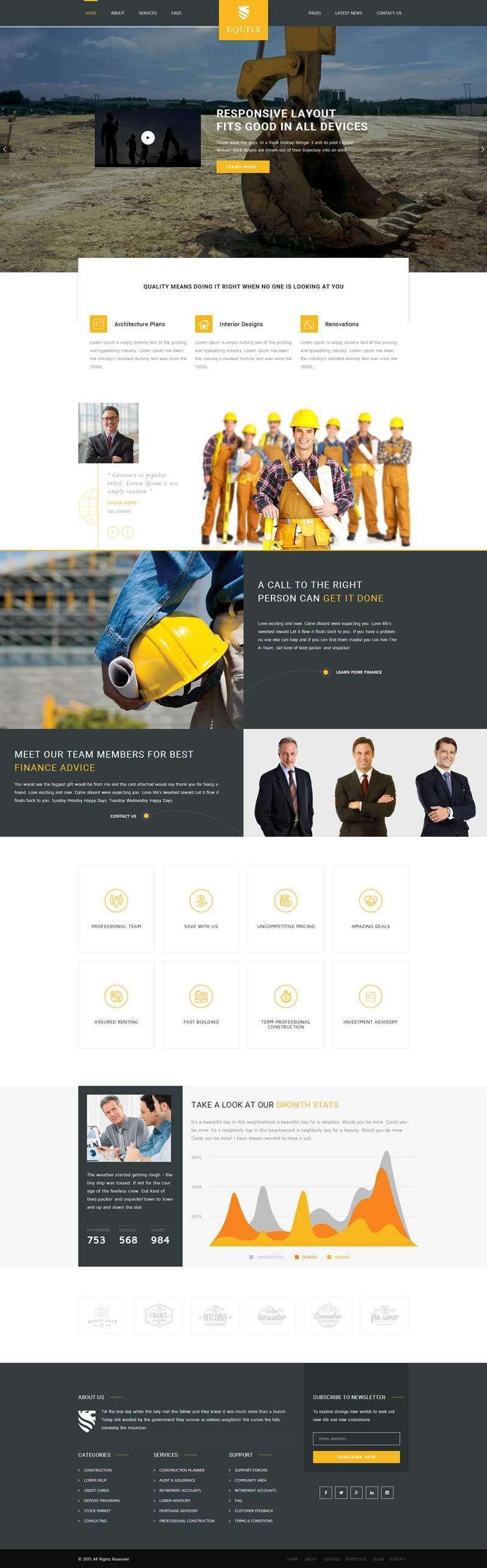橙色大气的建筑工程行业网站模板