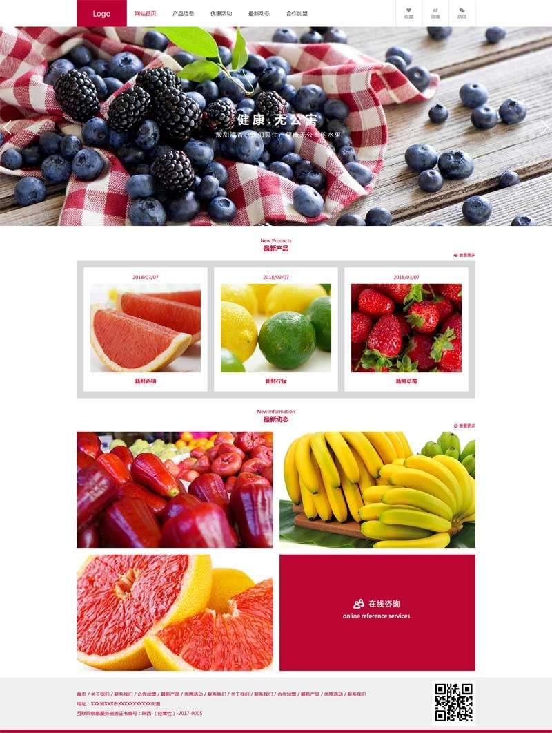 红色的水果销售加盟公司网站模板