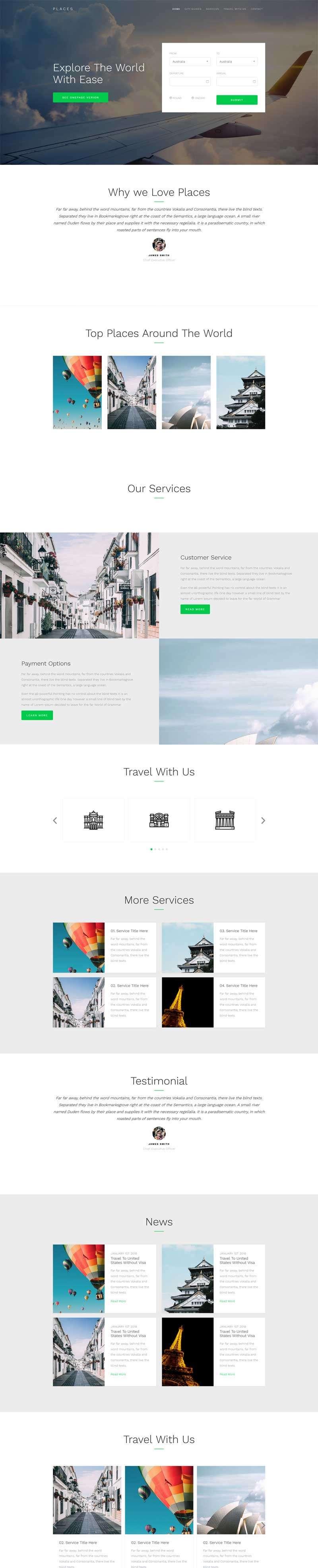 宽屏的旅游机票在线预订网站模板