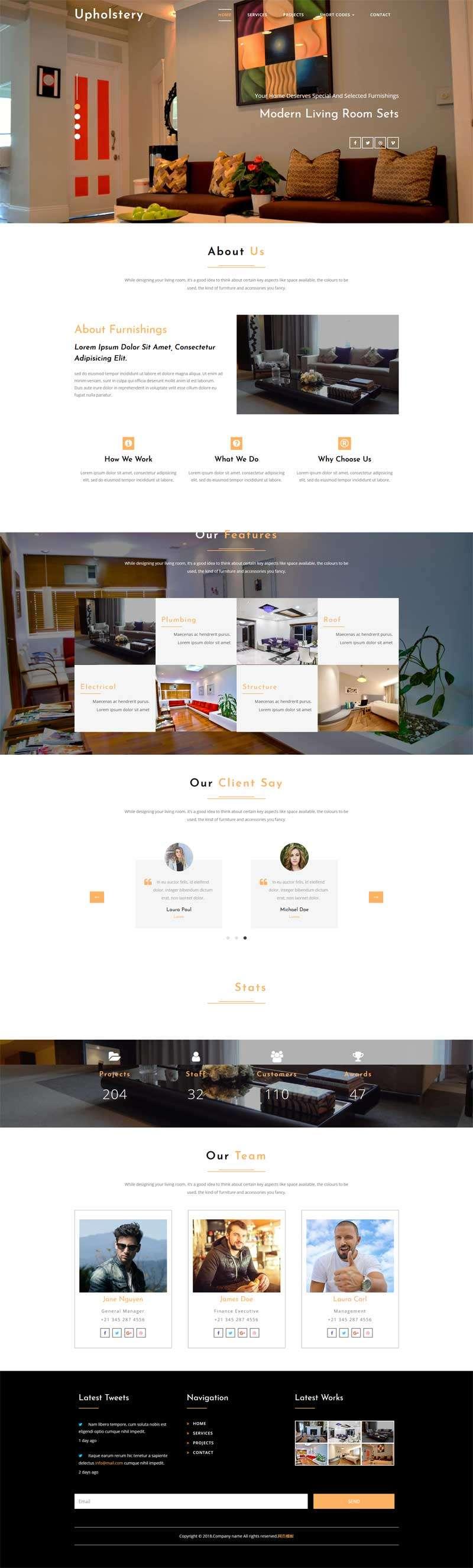 宽屏的室内设计企业模板