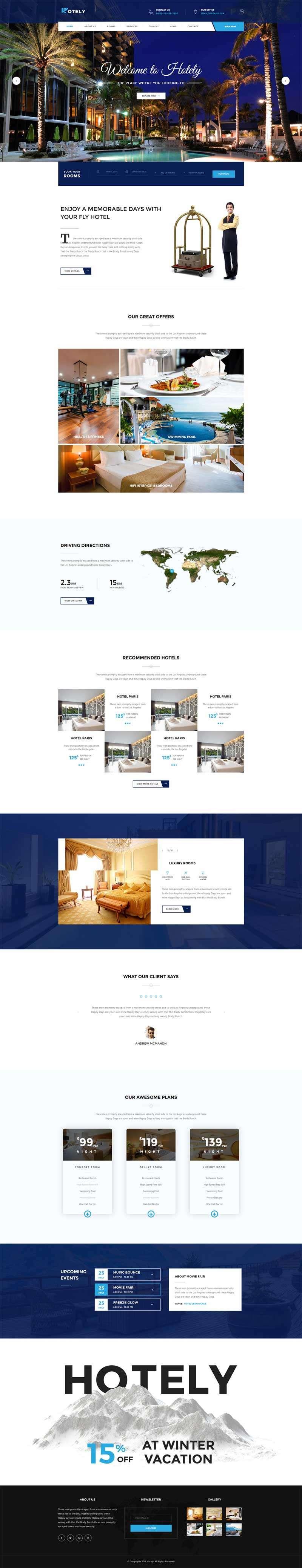 蓝色宽屏的度假酒店预订官网html模板