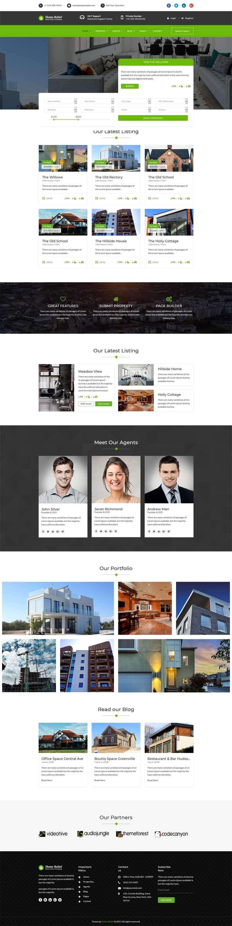 绿色Bootstrap响应式房产中介网站模板