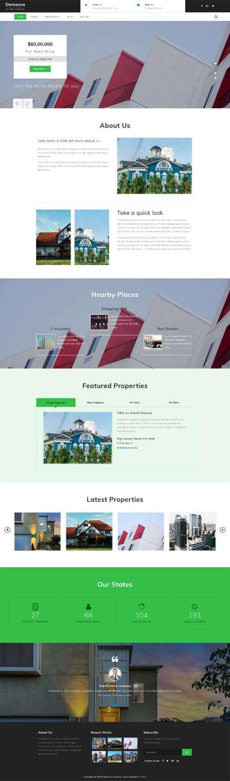 绿色的别墅房子销售公司网页模板