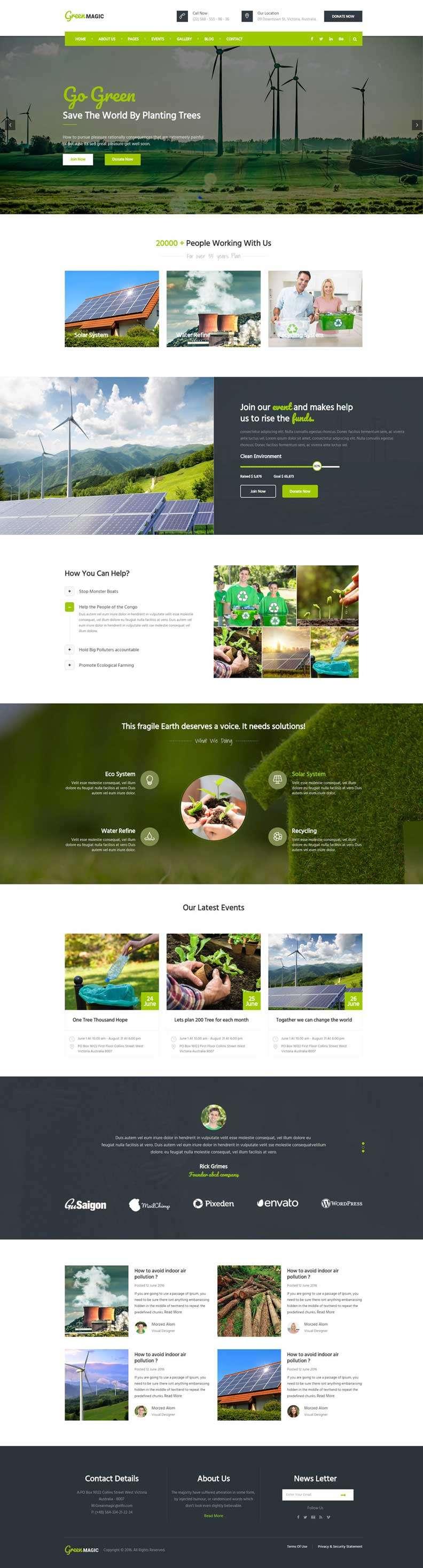 绿色宽屏的节能环保公益宣传网站模板