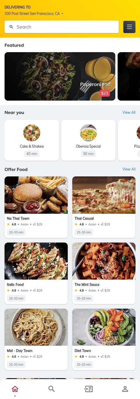 手机端餐饮外卖预订ui页面模板