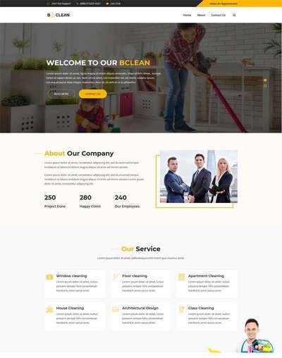 大气保洁服务公司html静态网站模
