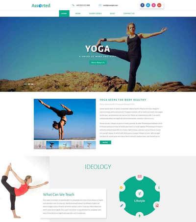 大气瑜伽健身课程培训html网页模
