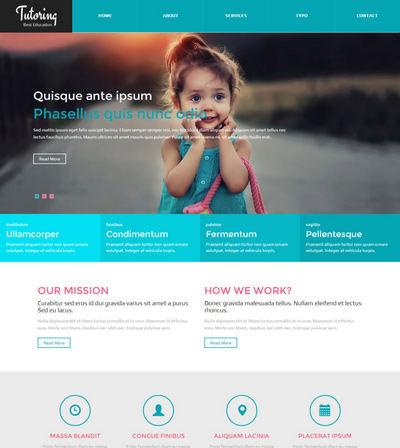 宽屏小学生教育机构html静态网站