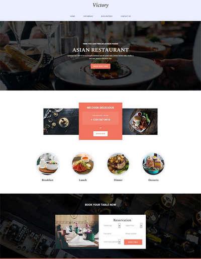 简单美食餐厅展示静态html网站模板