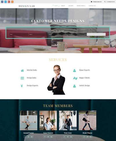 宽屏房屋室内设计公司静态html网页模板